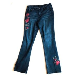 Earl Jeans Slim Boot Cut with Red Rose Detail